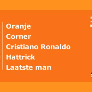 Raad de voetbal kaart spel 30 seconds Oranje Cristiano Ronaldo Corner Hattrick